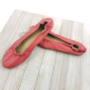 Womens Sorel Coral Pink Leather Ballet Flats